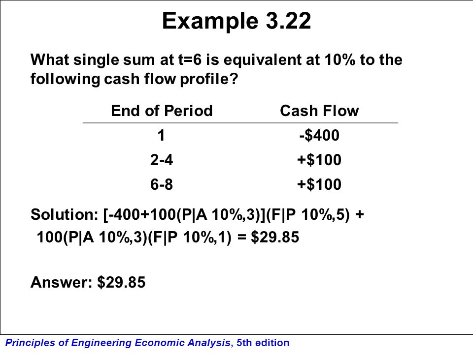 Example 3.22 What single sum at t=6 is equivalent at 10% to the following cash flow profile Solution: [-400+100(P|A 10%,3)](F|P 10%,5) +